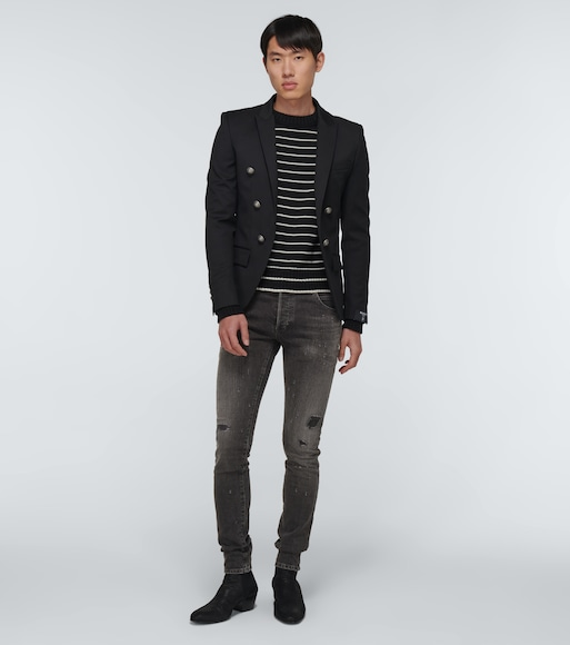 Balmain - Straight-leg distressed jeans - mytheresa.com