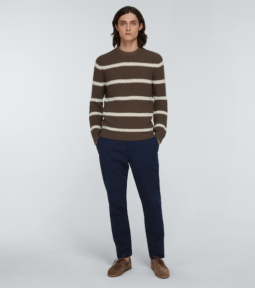 Brunello Cucinelli - Cotton and linen striped sweater - mytheresa.com