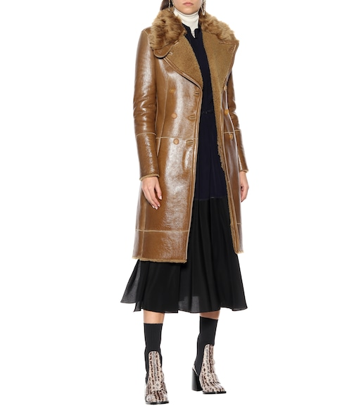 Chloé - Shearling-lined leather coat - mytheresa.com