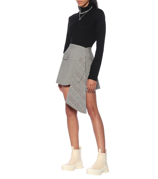 Monse - Checked wool and cotton miniskirt - mytheresa.com