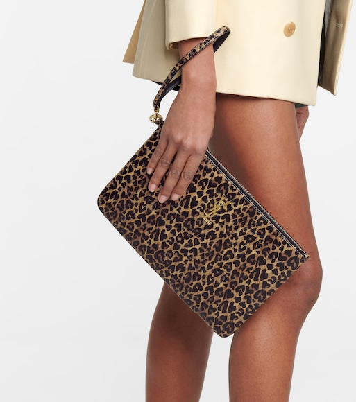 Saint Laurent - Leopard-print leather tablet pouch - mytheresa.com
