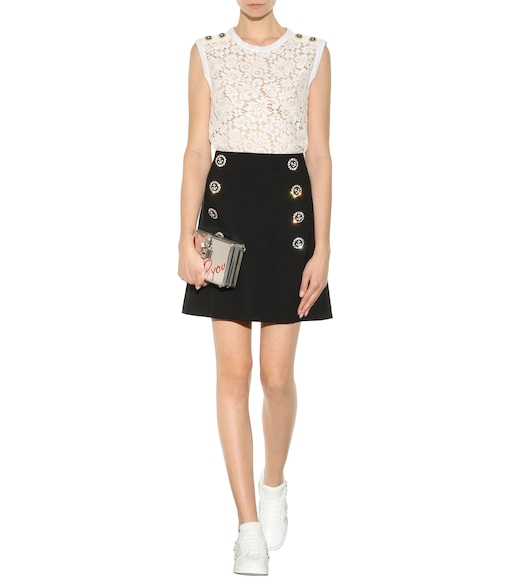 Dolce & Gabbana - Embellished virgin wool skirt - mytheresa.com