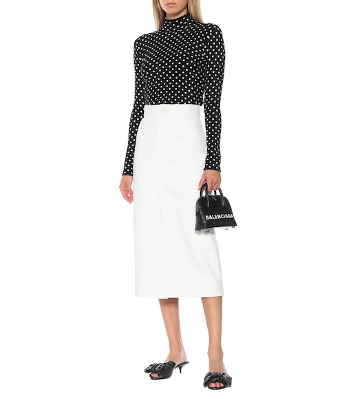 Balenciaga - Leather midi skirt - mytheresa.com