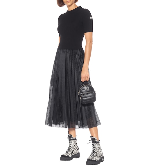 Moncler - Wool and mesh midi dress - mytheresa.com