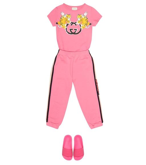 ff41320f2 Gucci Kids - Striped cotton track pants - mytheresa.com