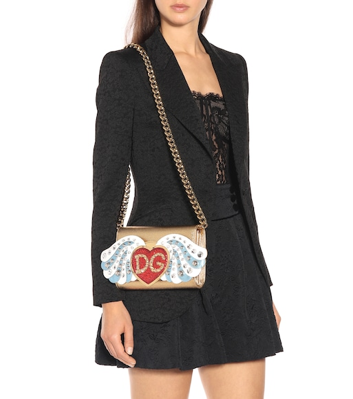 Dolce & Gabbana - Embellished leather shoulder bag - mytheresa.com