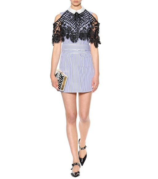 Self-Portrait - Cotton lace-cape mini dress - mytheresa.com