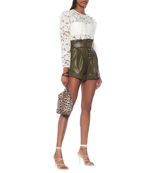 Self-Portrait - High-rise faux-leather paperbag shorts - mytheresa.com