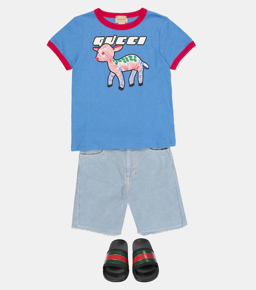 Gucci Kids - Logo cotton and linen T-shirt - mytheresa.com
