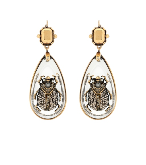 Alexander McQueen - Crystal beetle earrings - mytheresa.com