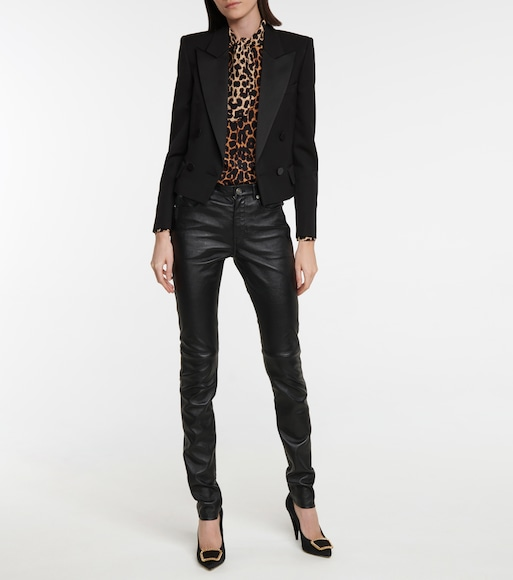 Saint Laurent - Cropped virgin wool tuxedo blazer - mytheresa.com