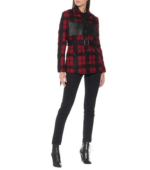 Saint Laurent - Leather-trimmed checked wool-blend jacket - mytheresa.com
