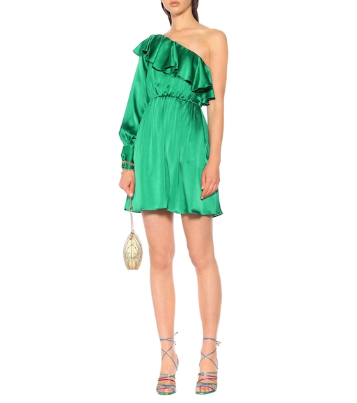 MSGM - One-shoulder silk-blend minidress - mytheresa.com