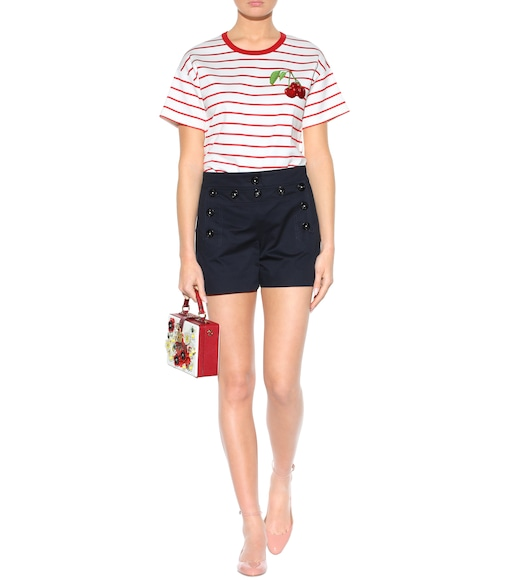 Dolce & Gabbana - Striped cotton T-shirt with appliqué - mytheresa.com