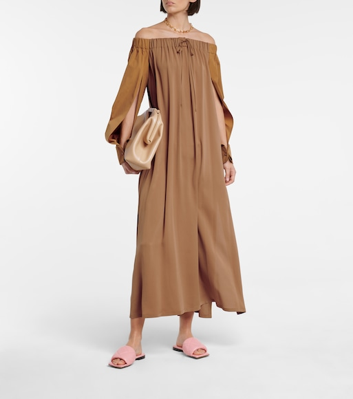 Max Mara - Amico off-shoulder silk maxi dress - mytheresa.com