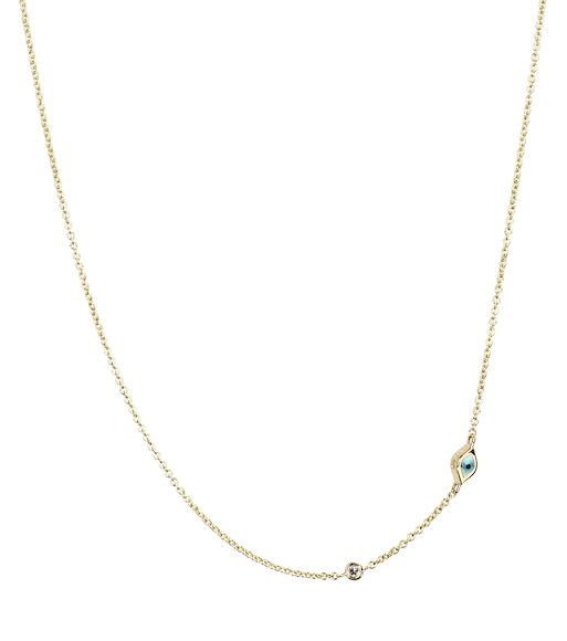 Sydney Evan - Mini Evil Eye 14kt yellow gold and white diamond necklace - mytheresa.com