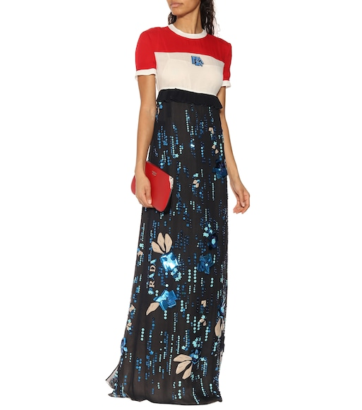 Prada - Embellished silk georgette maxi dress - mytheresa.com