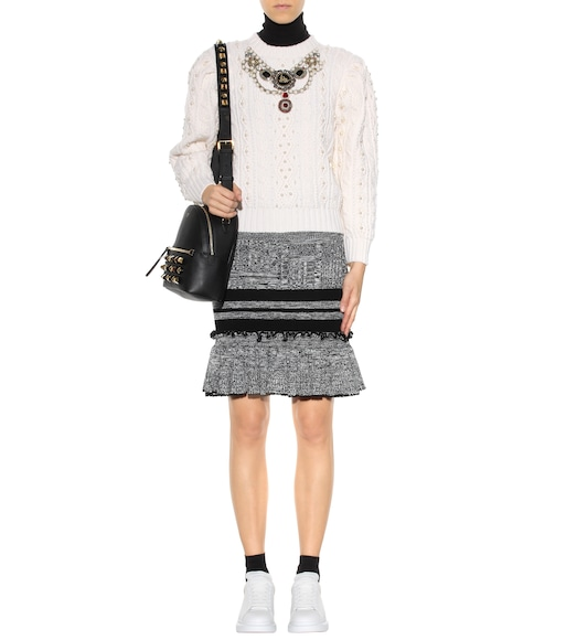 Alexander McQueen - Wool and silk knitted skirt - mytheresa.com