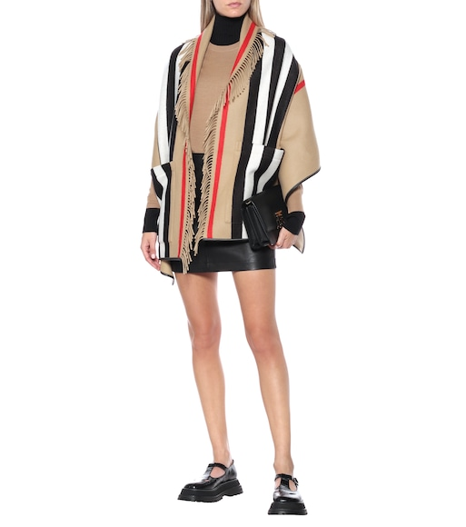 Burberry - Icon Stripe wool and cashmere cape - mytheresa.com