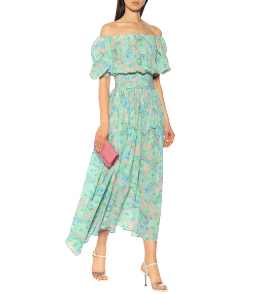 Prada - Floral silk midi dress - mytheresa.com