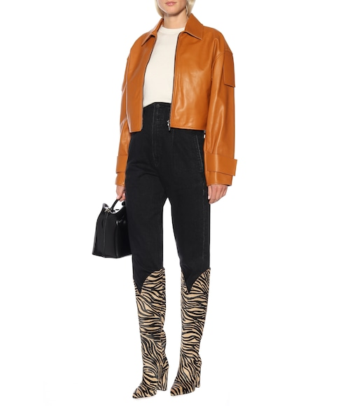 Paris Texas - Zebra-print suede knee-high boots - mytheresa.com