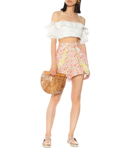 Zimmermann - Shorts Goldie Spliced Frill in lino - mytheresa.com