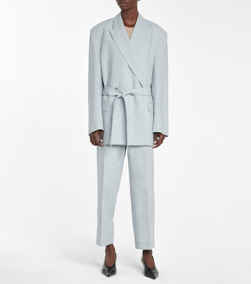 Acne Studios - Belted linen and cotton blazer - mytheresa.com