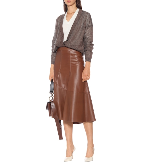 Brunello Cucinelli - High-rise leather midi skirt - mytheresa.com