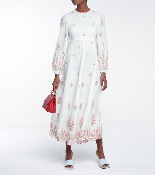 Zimmermann - Poppy embroidered linen dress - mytheresa.com